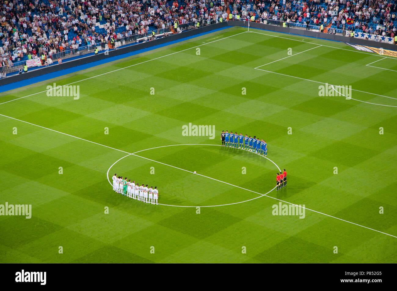 Silence minute. Santiago Bernabeu stadium, Madrid, Spain. - Stock Image