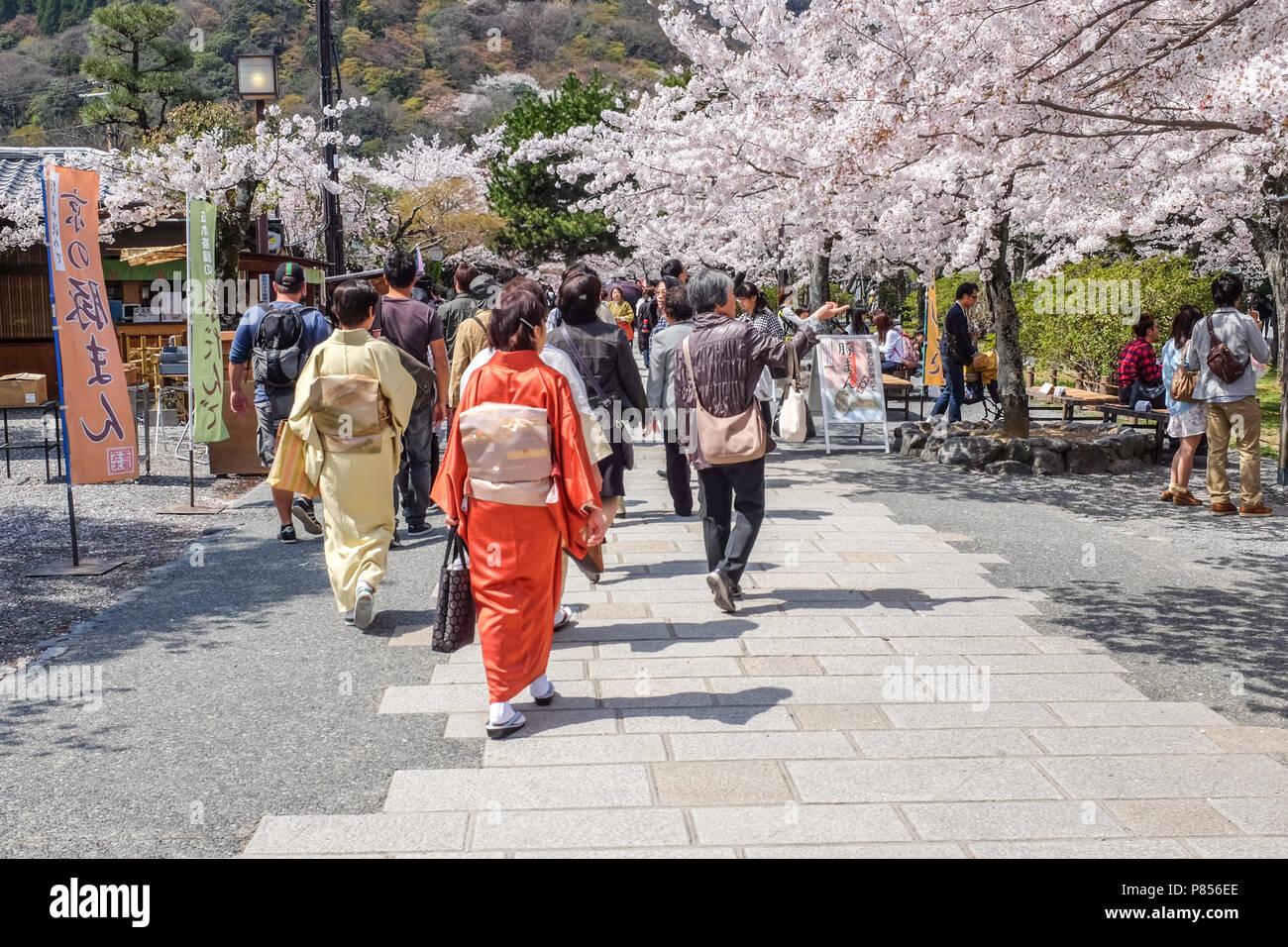 Japanese tourists explore Arashiyama in the outskirts of Kyoto, Japan. Arashiyama has been a popular destination during spring since the 8th century Stock Photo