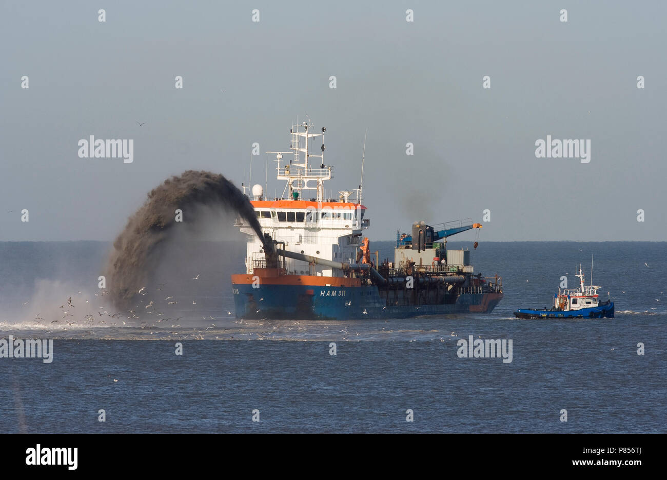 Zand opspuiten Noordzee, sand spraying North Sea - Stock Image