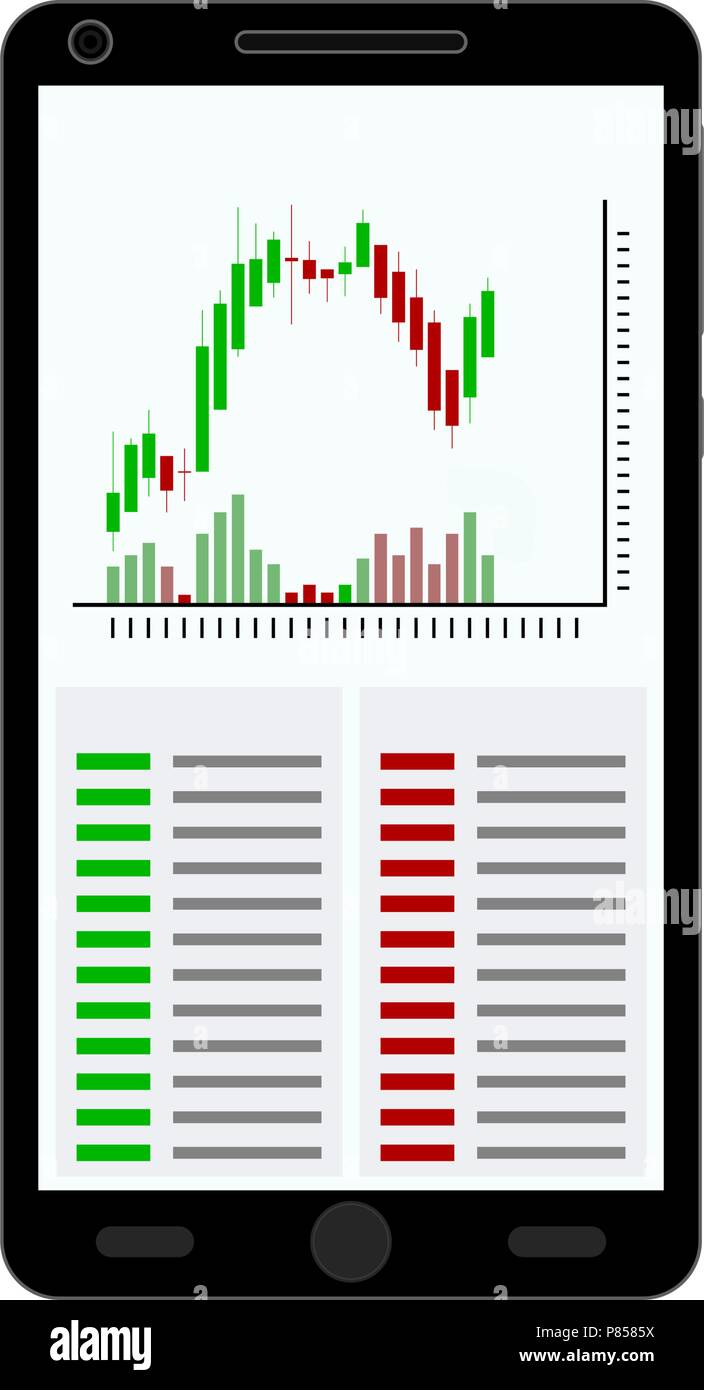 Smartphone with candle stick chart isolated on white background. Vector illustration Stock Vector
