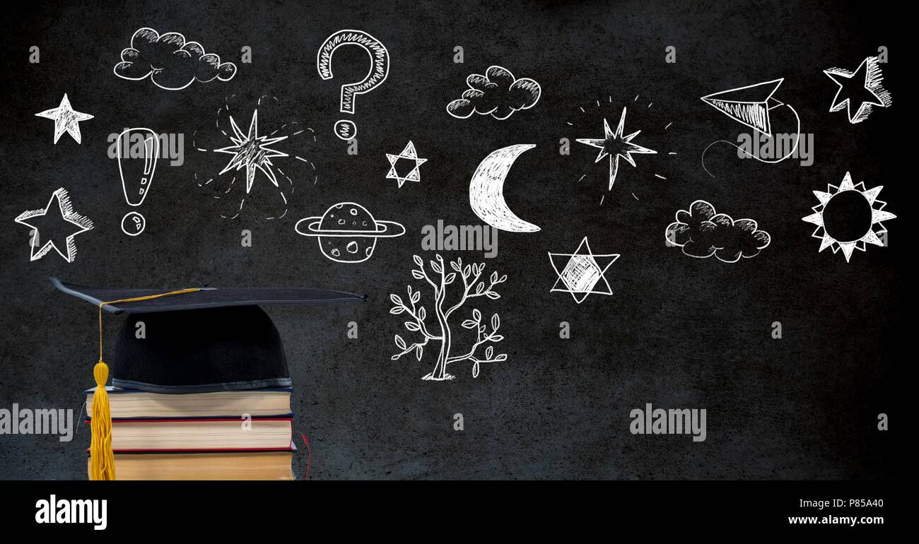 Education drawing on blackboard for school with graduation hat and books - Stock Image