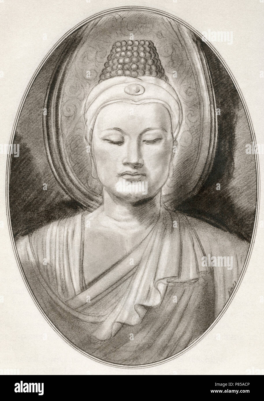 Gautama Buddha, c. 563/480 – c. 483/400 BC, aka Siddhārtha Gautama, Shakyamuni Buddha or the Buddha.  Ascetic (śramaṇa) and sage.   Illustration by Gordon Ross, American artist and illustrator (1873-1946), from Living Biographies of Religious Leaders. - Stock Image