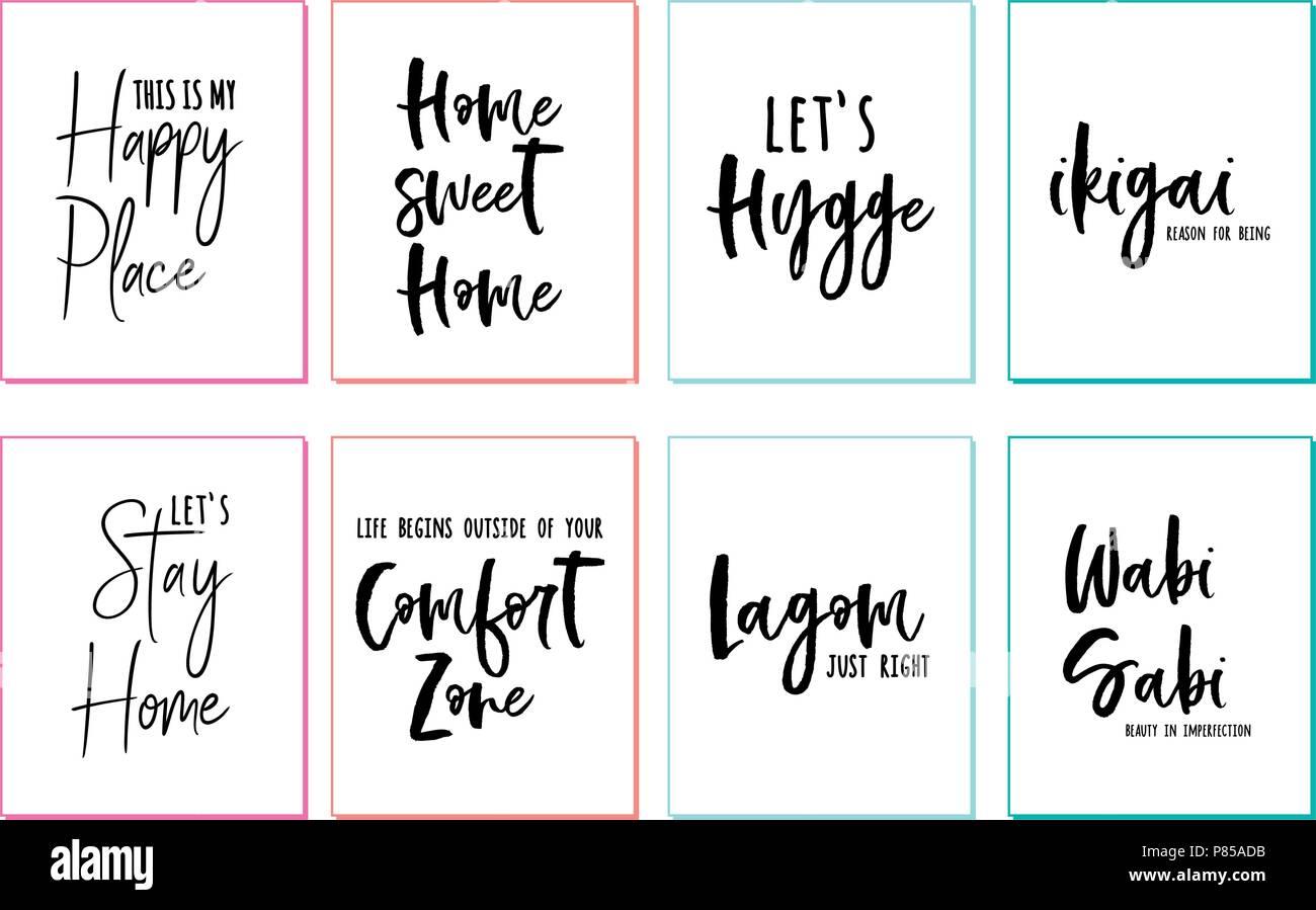 Home sweet home, happy place, comfort zone, hygge, lagom, wabi sabi, wall art prints, vector set - Stock Vector
