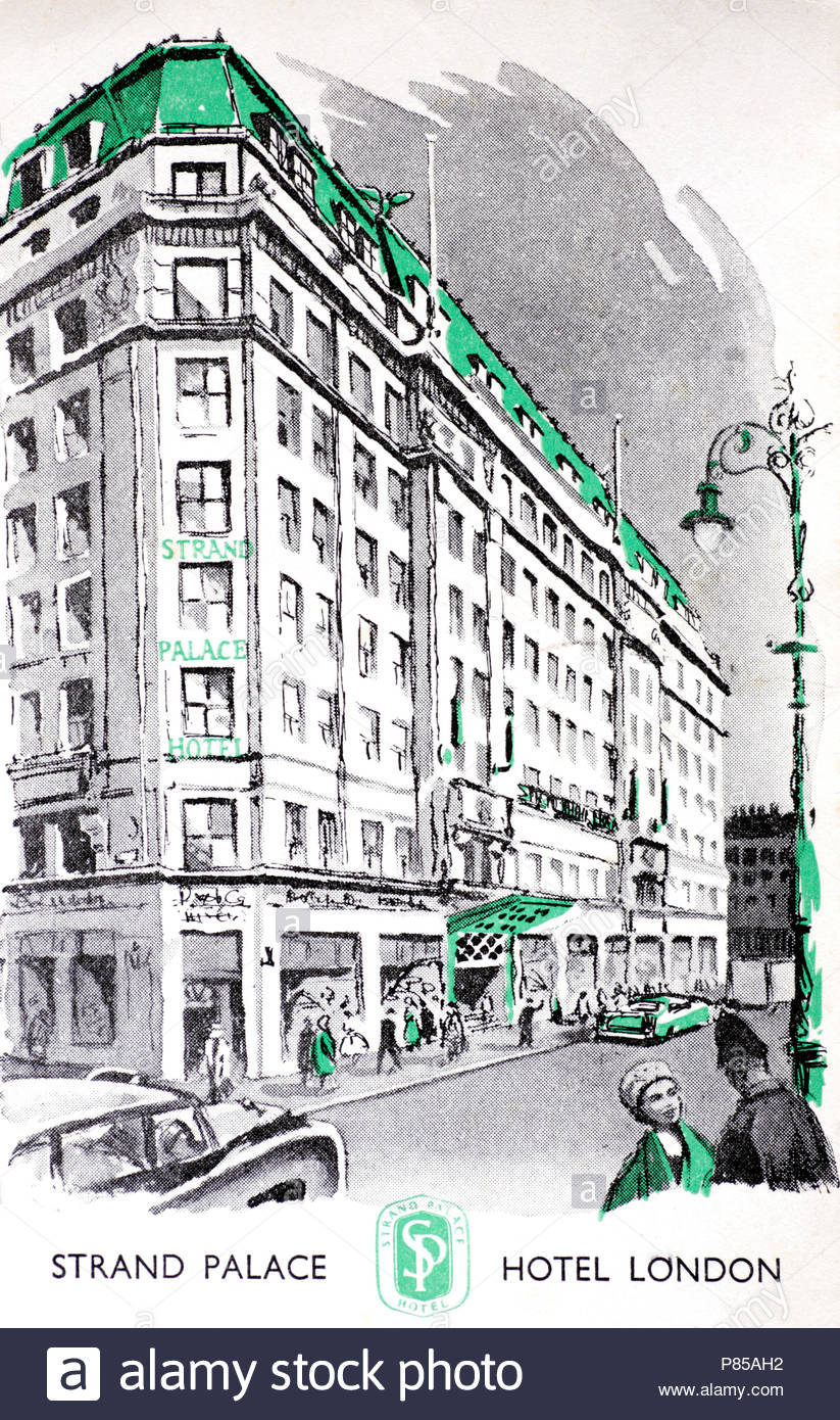 Strand palace Hotel, London, vintage postcard from 1962 - Stock Image