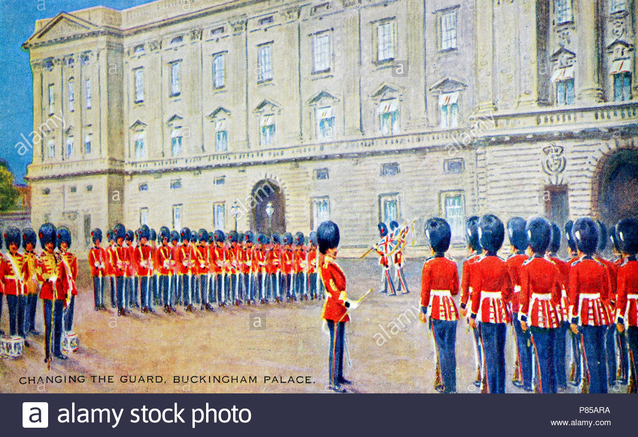 Changing of the Guard, Buckingham Palace, London England, vintage postcard from 1934 - Stock Image