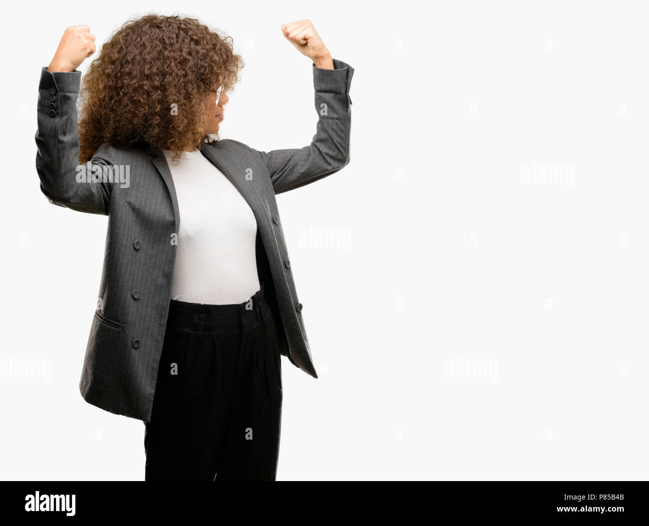 African American Business Woman Wearing Glasses Showing Arms Muscles