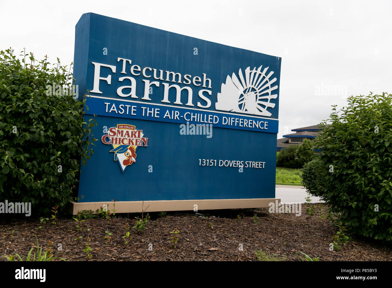 A logo sign outside of the headquarters of Tecumseh Poultry in Waverly, Nebraska on July 1, 2018. - Stock Image