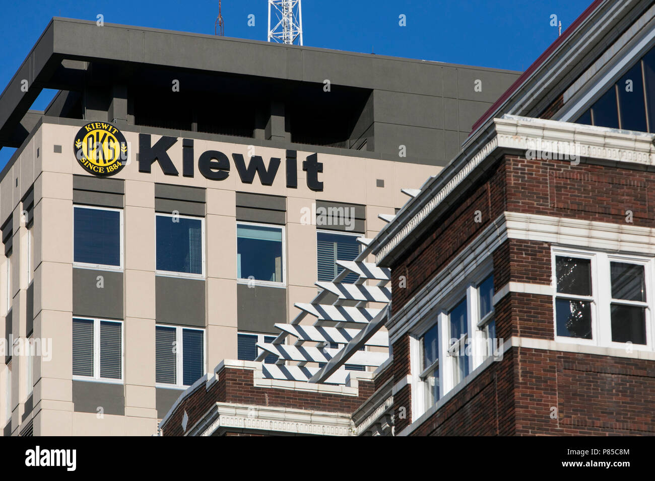 A logo sign outside of Kiewit Plaza, the headquarters of