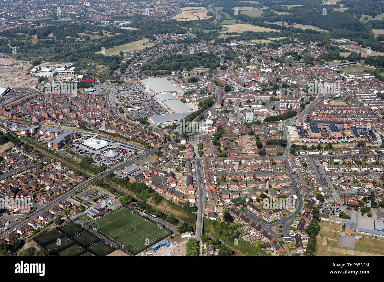aerial view of the town of Prescot, Merseyside - Stock Image