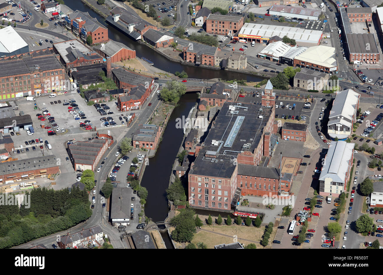 aerial view of Wigan Pier - Stock Image