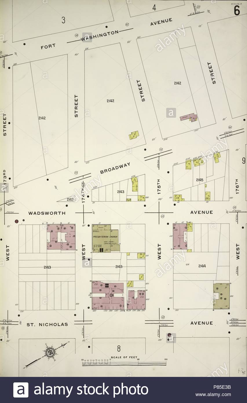 Fort Washington Map.Manhattan V 12 Plate No 6 Map Bounded By Fort Washington Ave