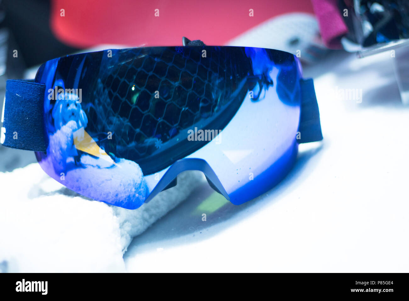 6a2907ea55 Modern high technology anti reflection ski and snowboard shop goggles on  sale in store window display