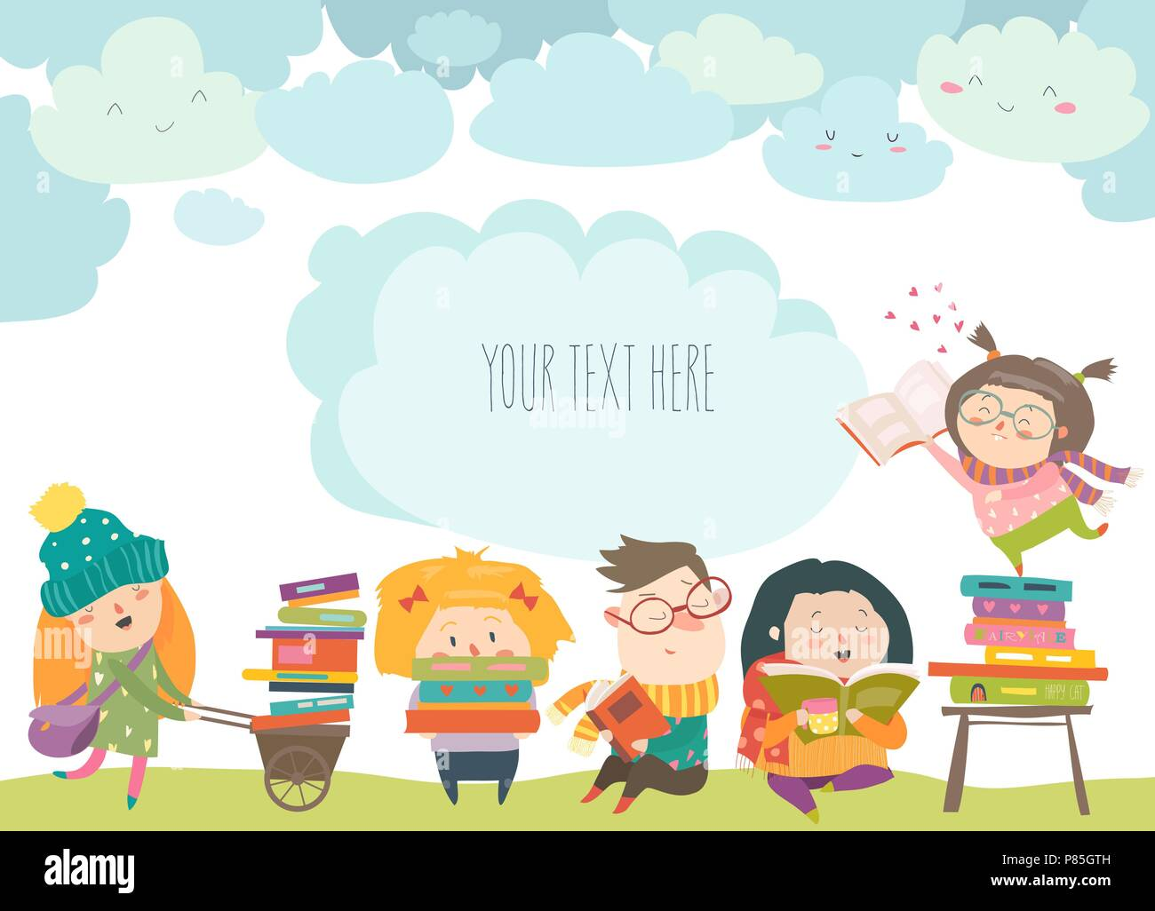 Group Of Cartoon Children Reading Books Stock Vector Art