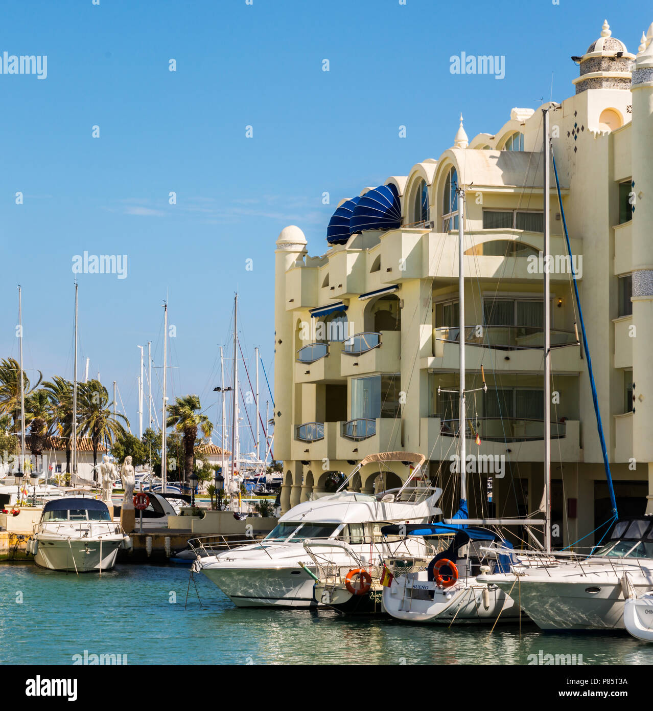 BENALMADENA, SPAIN - MAY 10, 2018 A beautiful marina with luxury yachts and motor boats in the tourist seaside town of Benalmadena Stock Photo