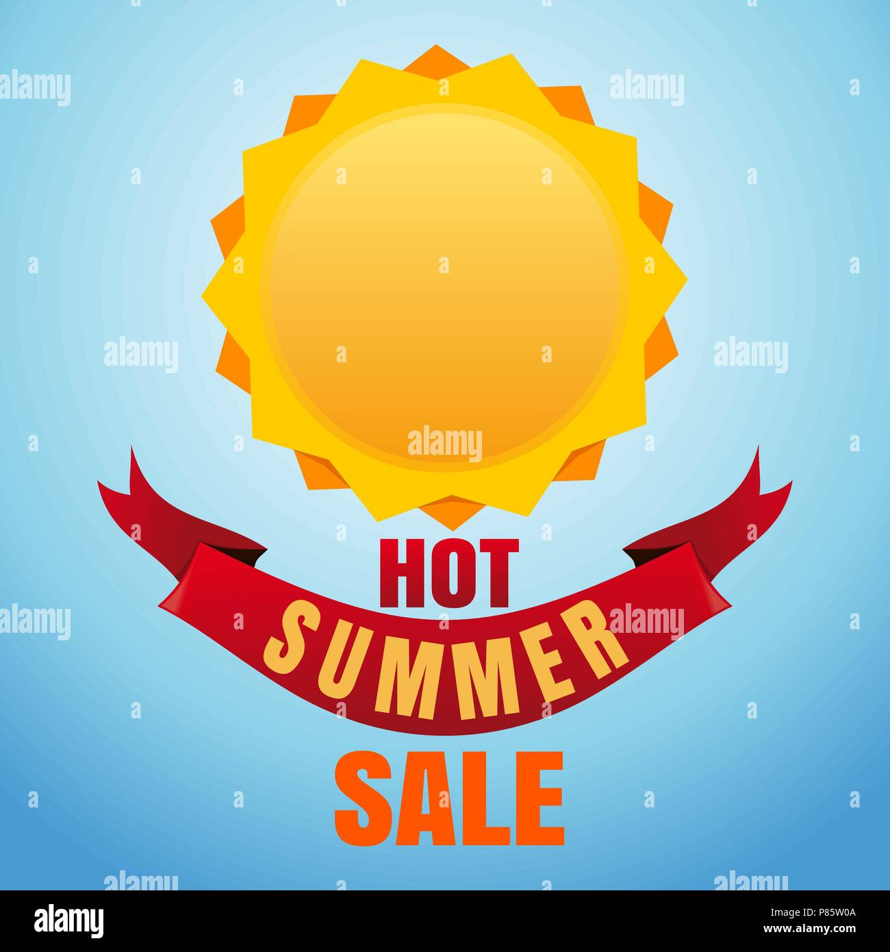 Hot summer sale  Sun logo icon and lettering on a blue