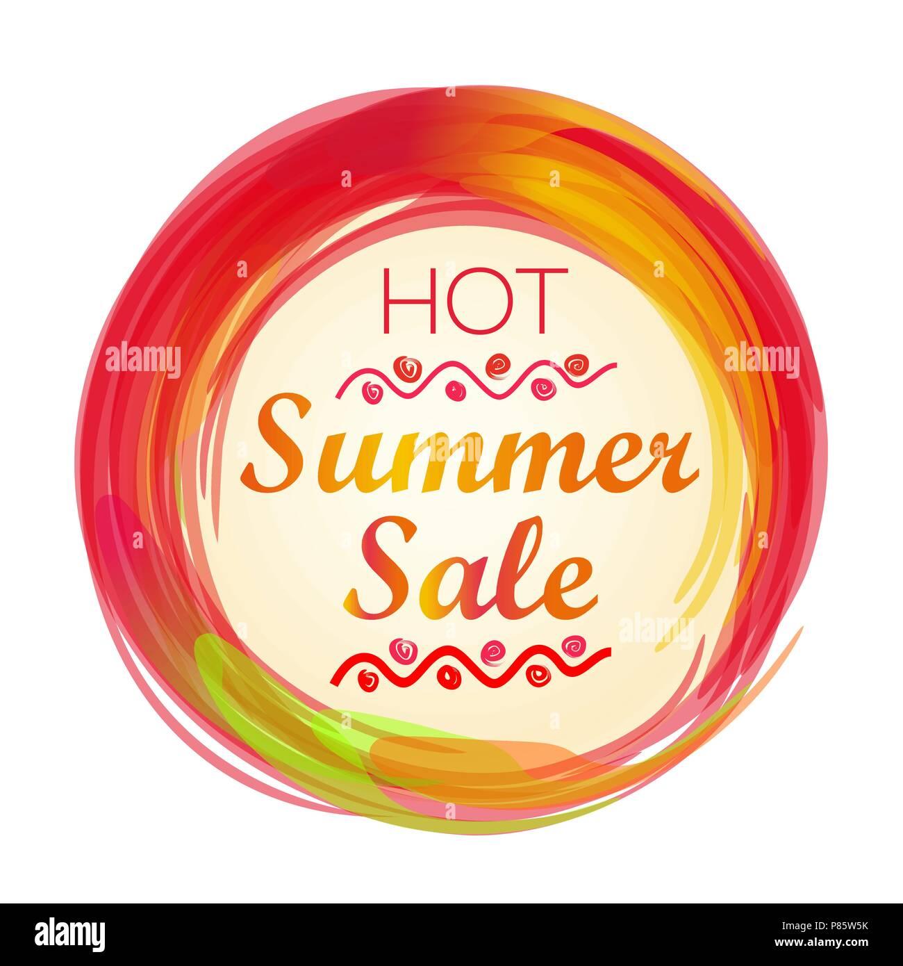 Hot summer sale lettering. Summer sale banner. Vector illustration - Stock Vector