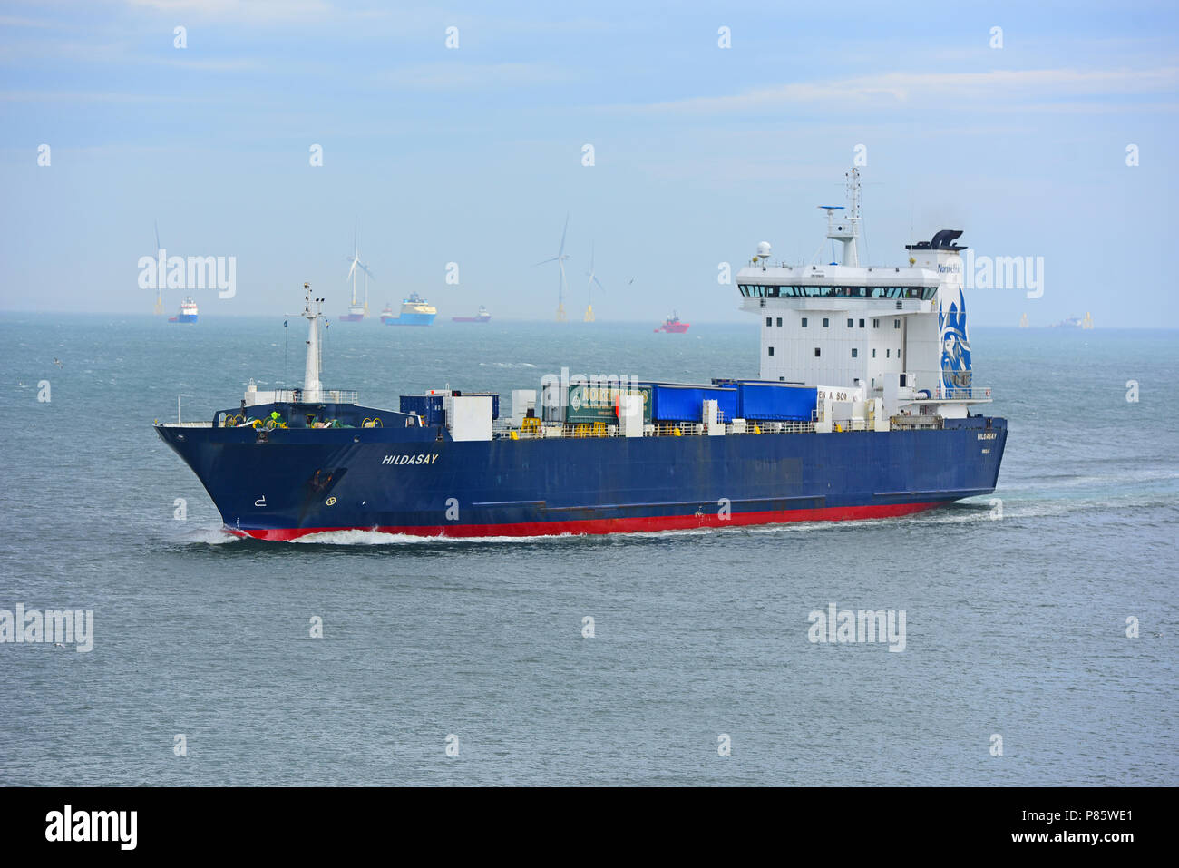 The Northlink Cargo Ferry Hildasay approaching the breakwater just outside the entrance to Aberdeen Harbour. - Stock Image