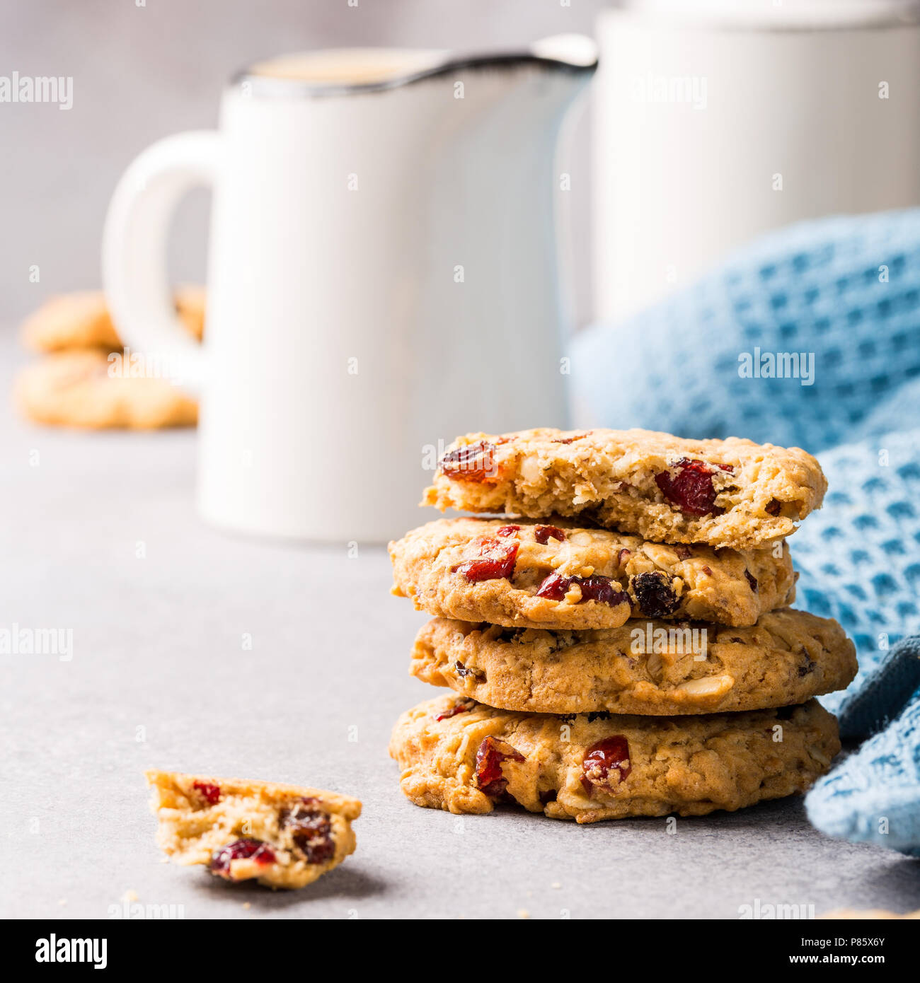Oat meal cookies with raisins - Stock Image