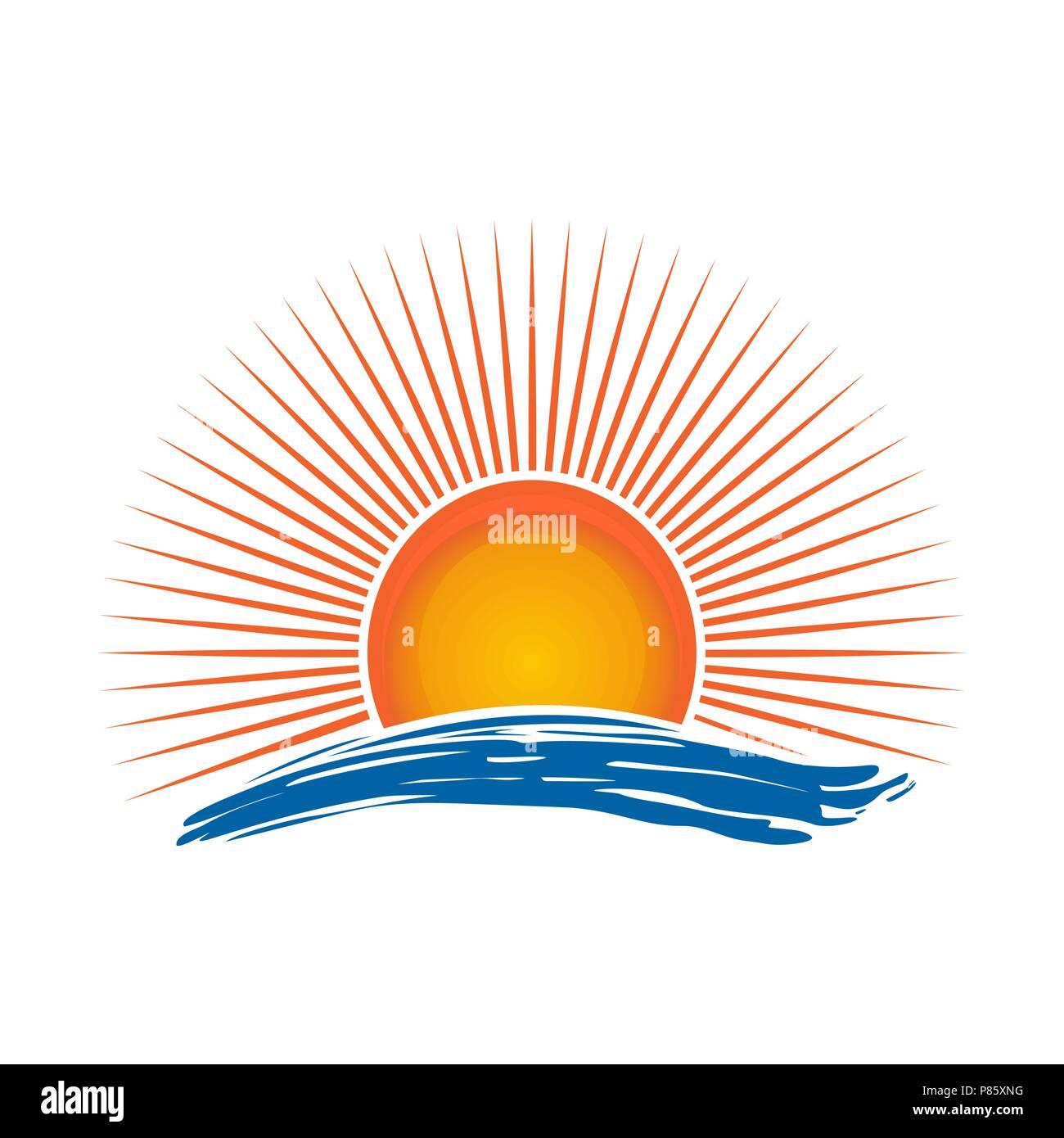 Sun over the sea. Sunrise. Sunshine logo over sea waves. Vector illustration isolated on white background - Stock Vector