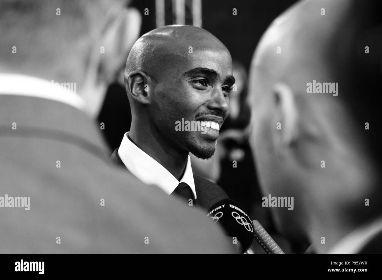 Mo Farah arrives at the Excel Centre in London for the BBC Sports Personality of the Year Awards 2012 , London. 16 December 2012 June 2012 --- Image by © Paul Cunningham - Stock Image