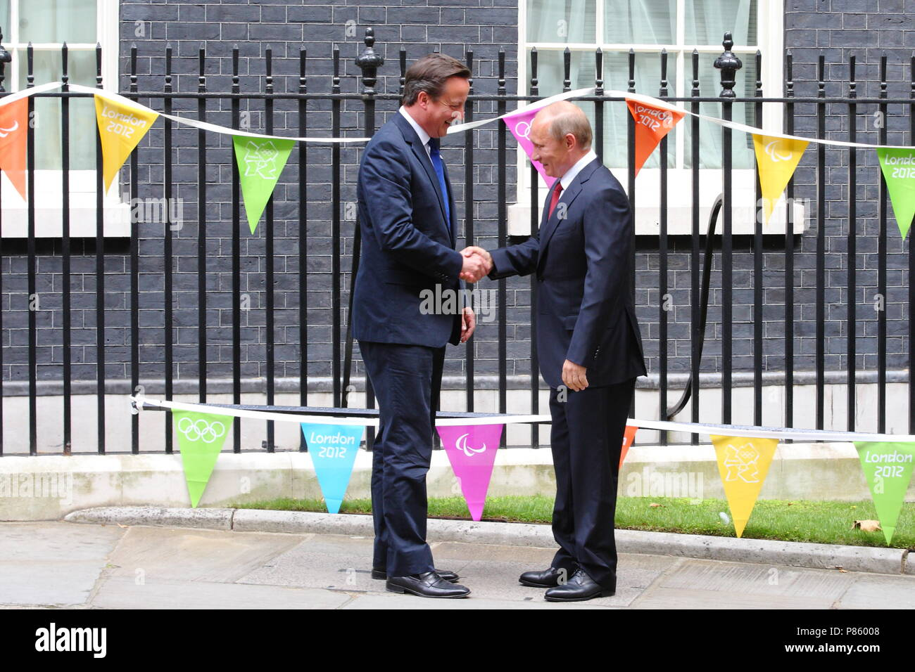 Prime Minister David Cameron meets with the Russian President Vladimir Putin at number 10 Downing Street, the presidents fist visit to the United Kingdom in 9 years. 2 August 2012 --- Image by © Paul Cunningham Stock Photo