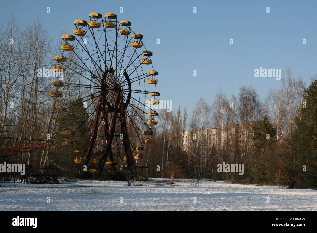 Ferris Wheel in the abandoned city of Pripyat - Inside the exclusion zone at Chernobyl - Stock Image