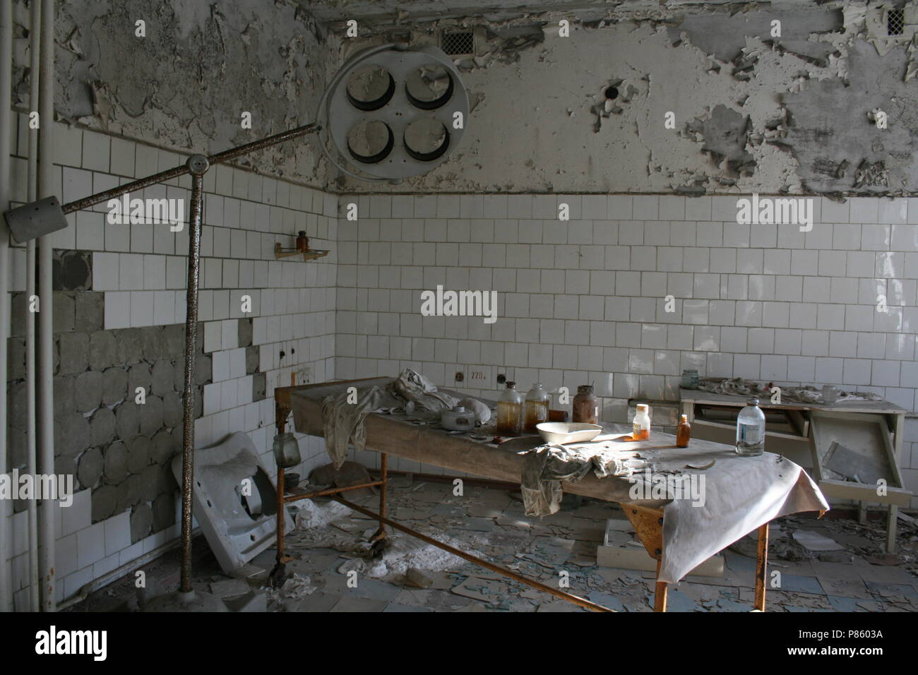 Operating Theatre inside the main hospital at Pripyat - Inside the exclusion zone at Chernobyl, Ukraine - Stock Image