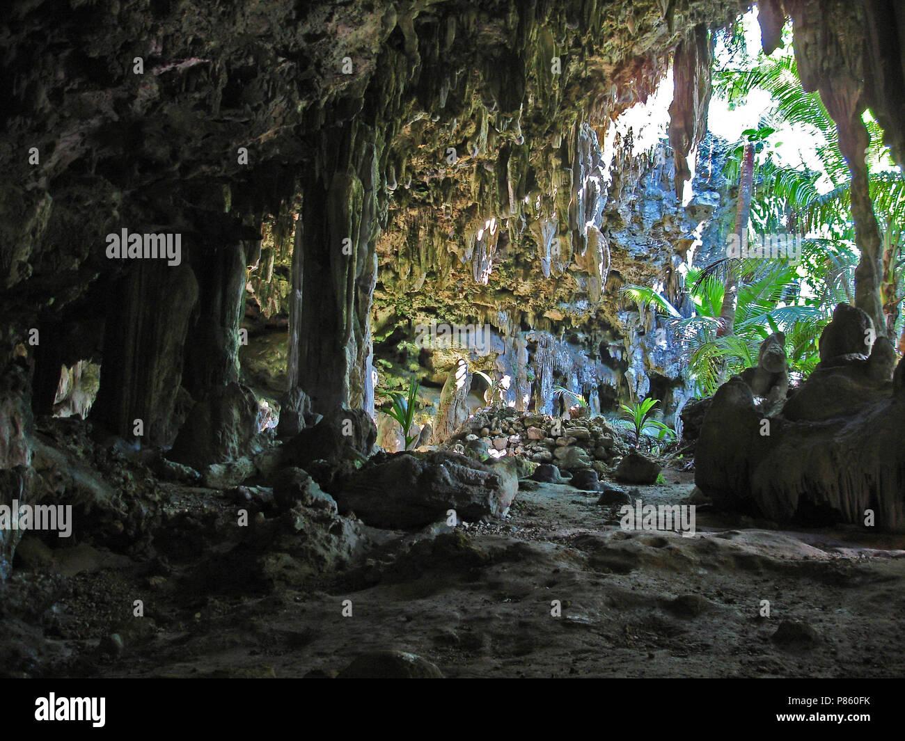 Atiu Caves Polynesië, Atiu Caves Polynesie - Stock Image
