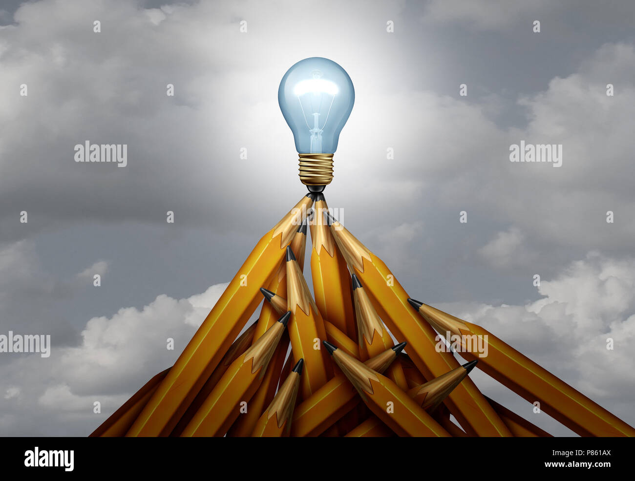 Creative peak and creativity height of success concept as a group of pencils shaped as a high mountain with a glowing light bulb on top. - Stock Image