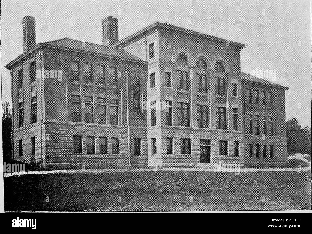 Black and white print depicting an angled view of Barney Hall, a Romanesque Revival, multi-level building located at Denison University in Ohio, currently hosting the English and Environmental Studies departments and known as Barney-Davis Hall, 1897. Courtesy Internet Archive. () - Stock Image