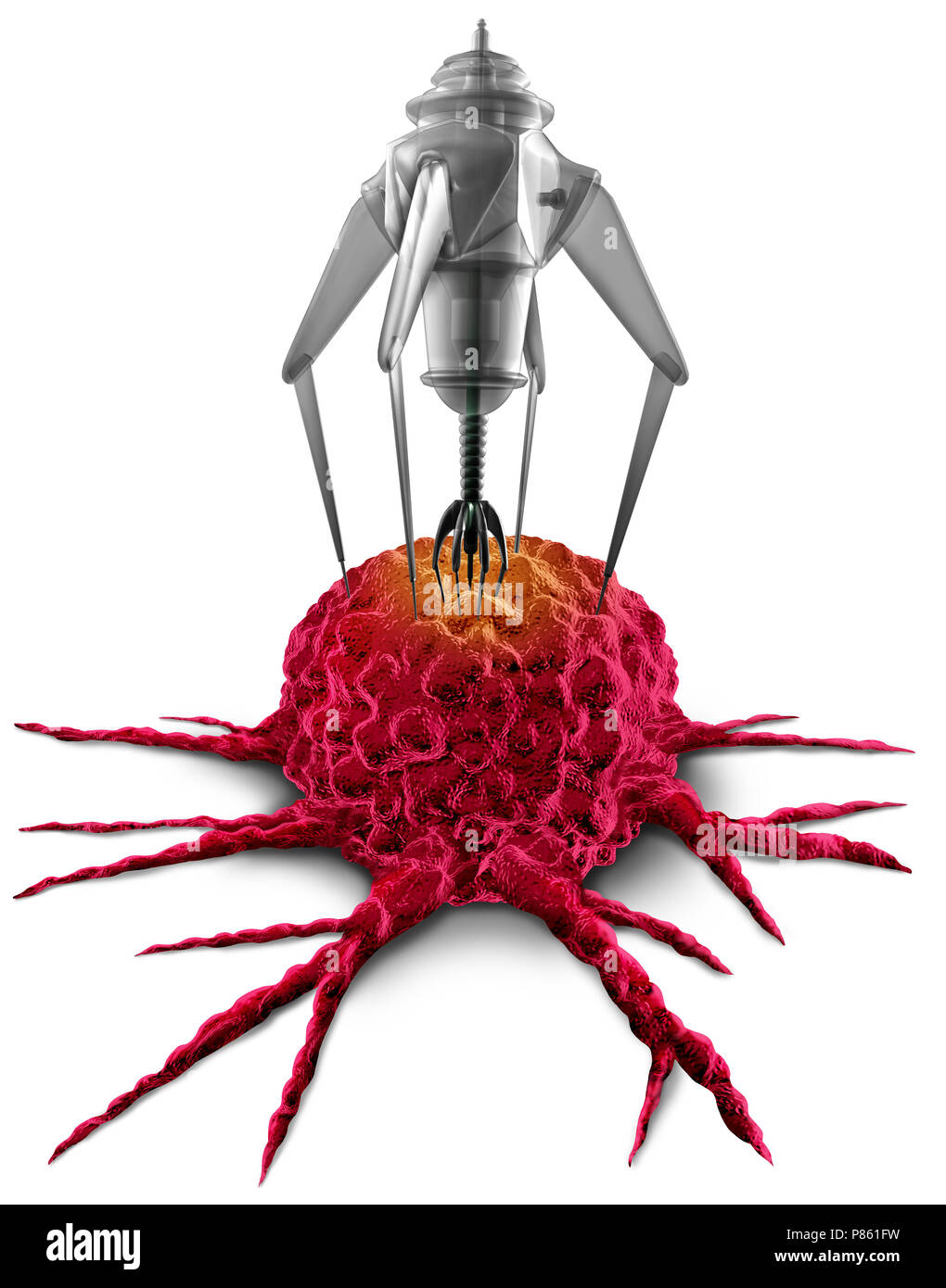 Nanorobot disease therapy as a medical bioengineeering nanomedicine illness fighting technology as a 3D render on a white background. - Stock Image