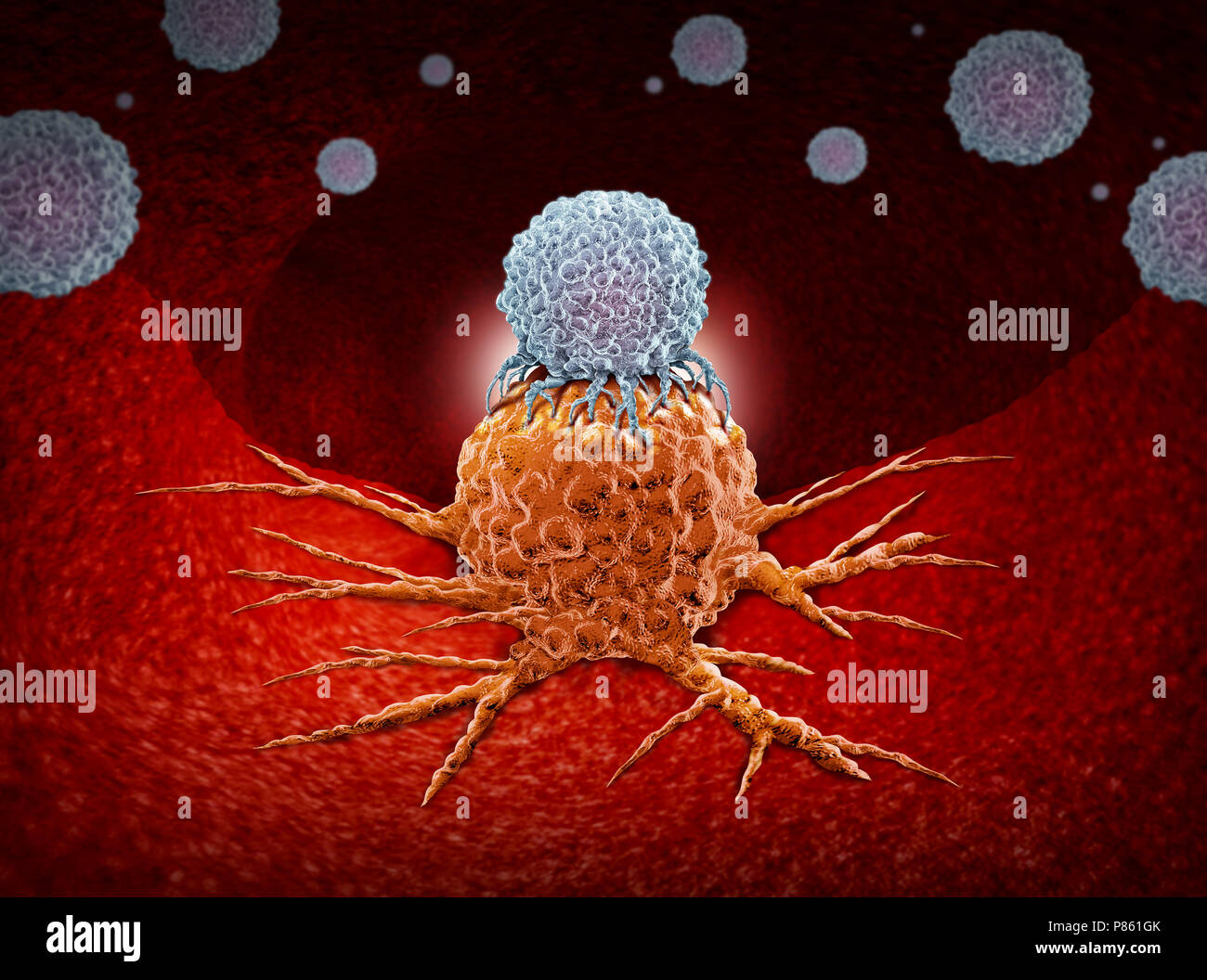 Immunotherapy as a human immune system therapy concept as a biomedical or biomedicine oncology treatment using the natural cancer. - Stock Image