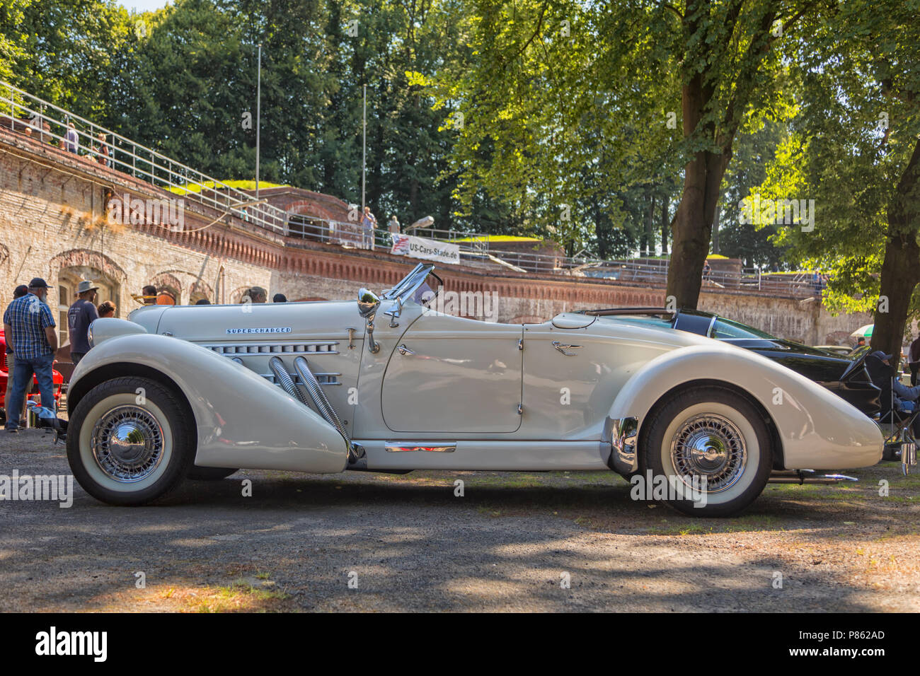 Stade, Germany - July 8, 2018: A vintage 1936 Auburn Speedster Boattail Super-Charged at 5th Summertime Drive US car meeting. - Stock Image