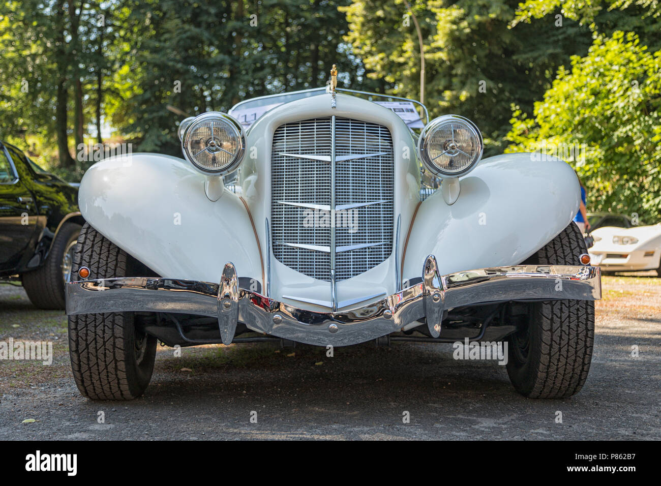 Stade, Germany - July 8, 2018: Fronta view of a vintage 1936 Auburn Speedster Boattail Super-Charged at 5th Summertime Drive US car meeting. - Stock Image