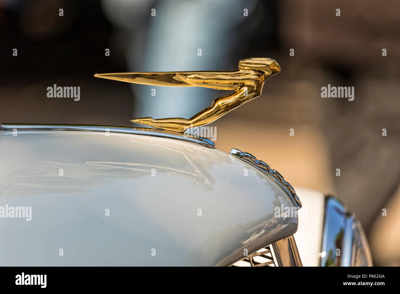 Stade, Germany - July 8, 2018: Bonnet mascot of  vintage 1936 Auburn Speedster Boattail Super-Charged at 5th Summertime Drive US car meeting. - Stock Image
