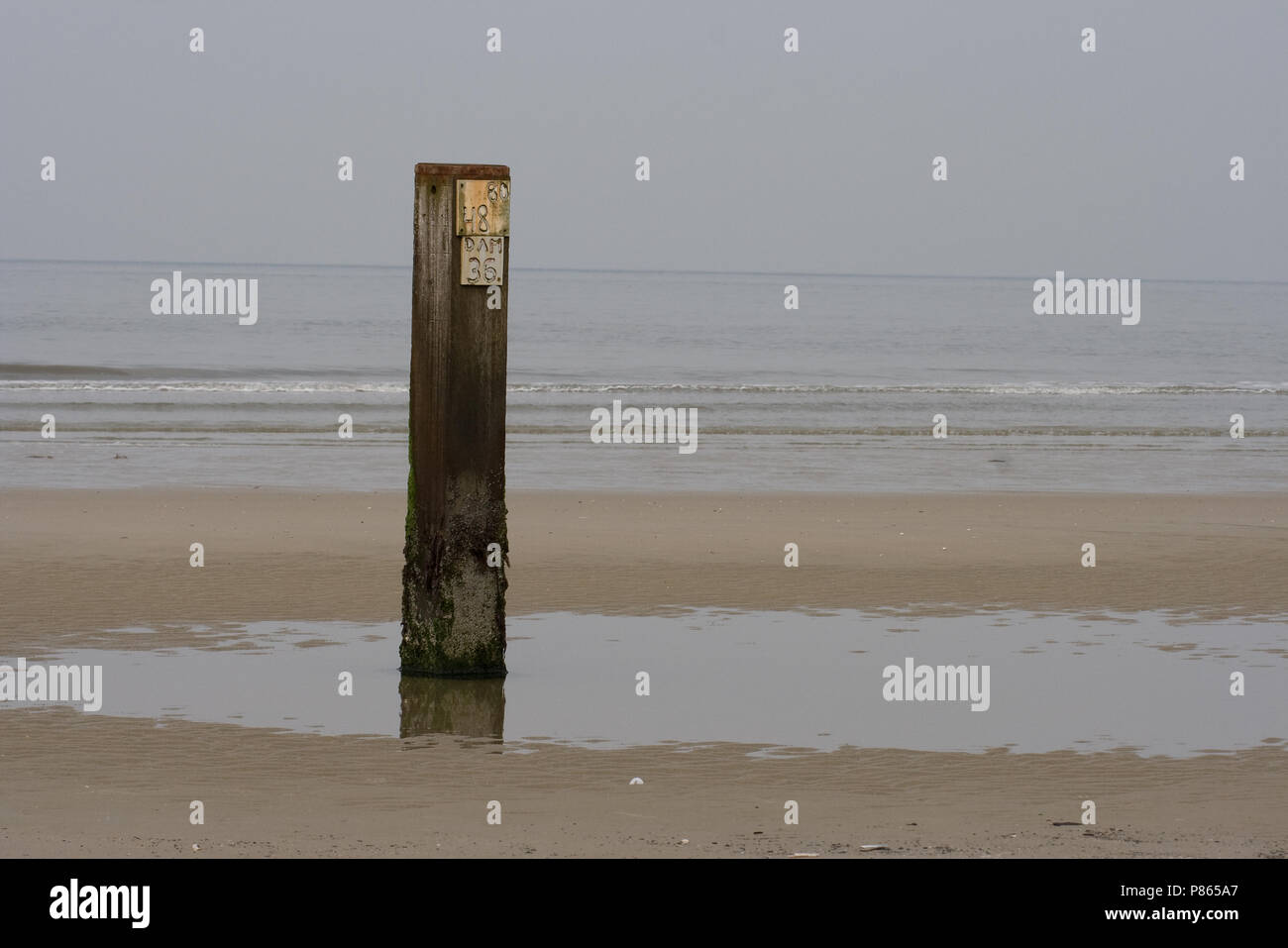 Paal op het strand van Vlieland; Pole on the beach of Vlieland Stock Photo