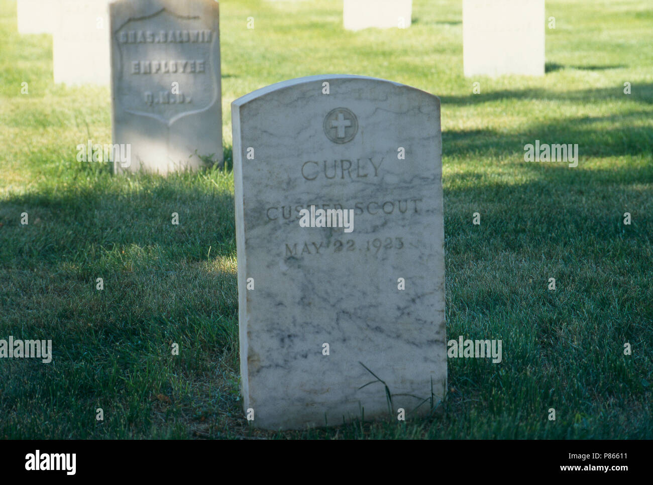 Grave of Curley, Custer's Native American scout, Custer National Cemetery, Montana. Photograph - Stock Image
