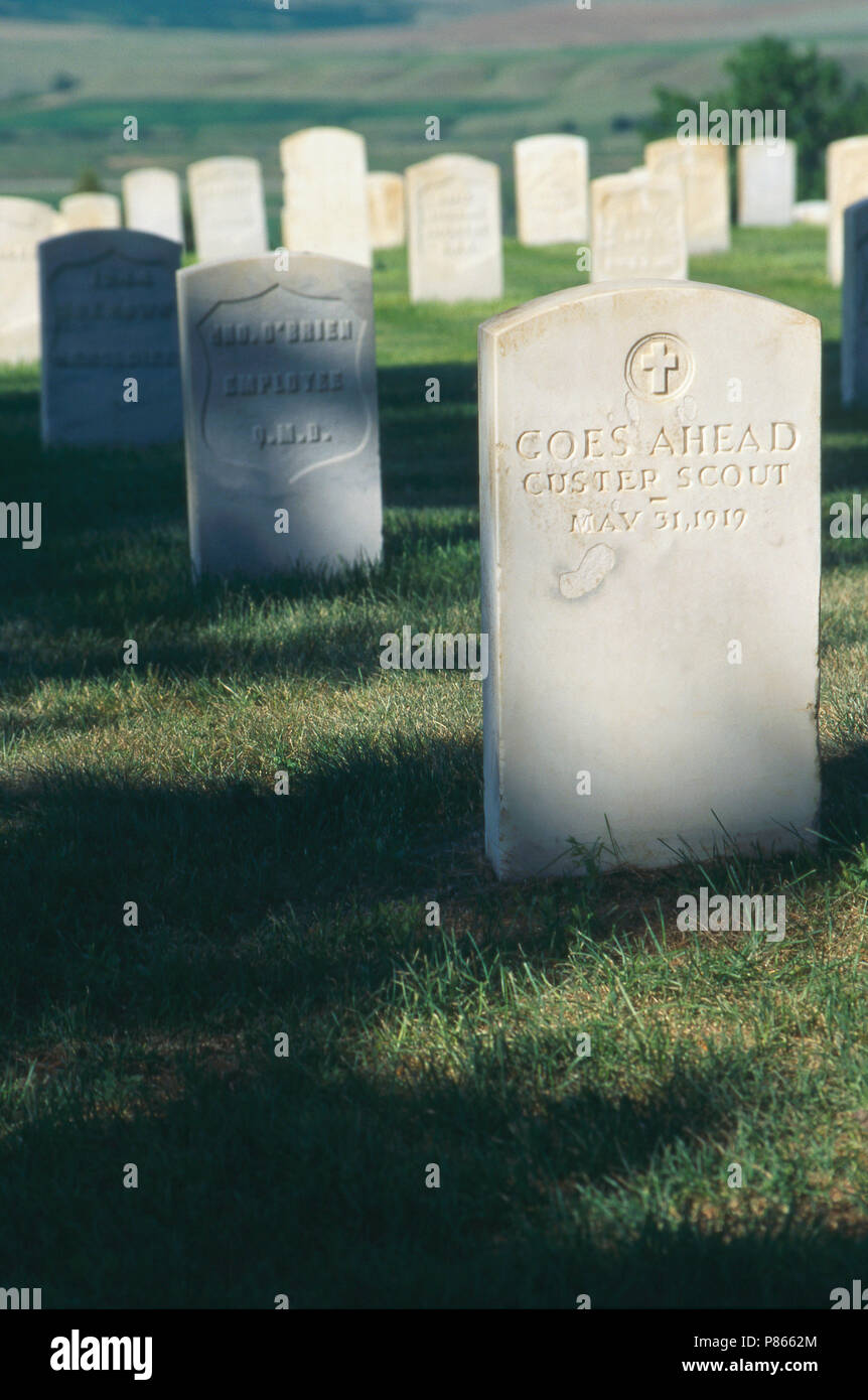 Grave of Custer's scout Goes Ahead, Custer National Cemetery, Montana. Photograph - Stock Image