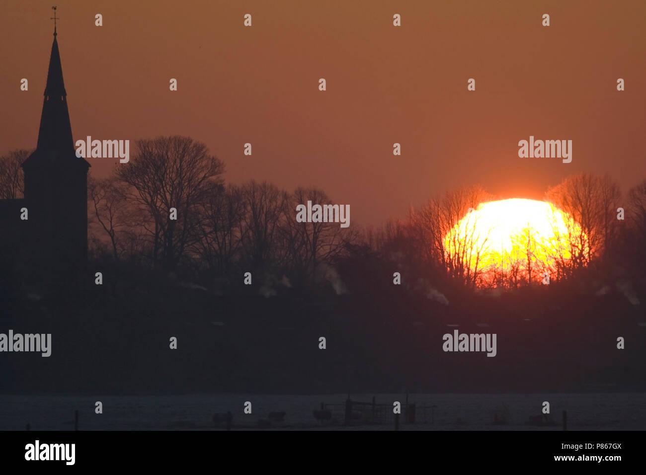Nederhorst Den Berg Nederland.Zonsopkomst Boven Nederhorst Den Berg Nederland Sunrise At