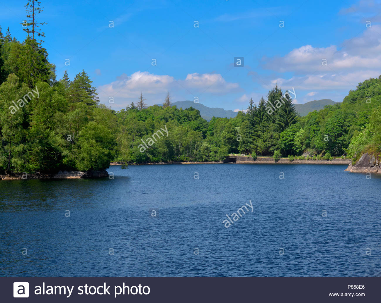 A scottish landscape overlooking loch katrine in the trossachs in scotland uk - Stock Image
