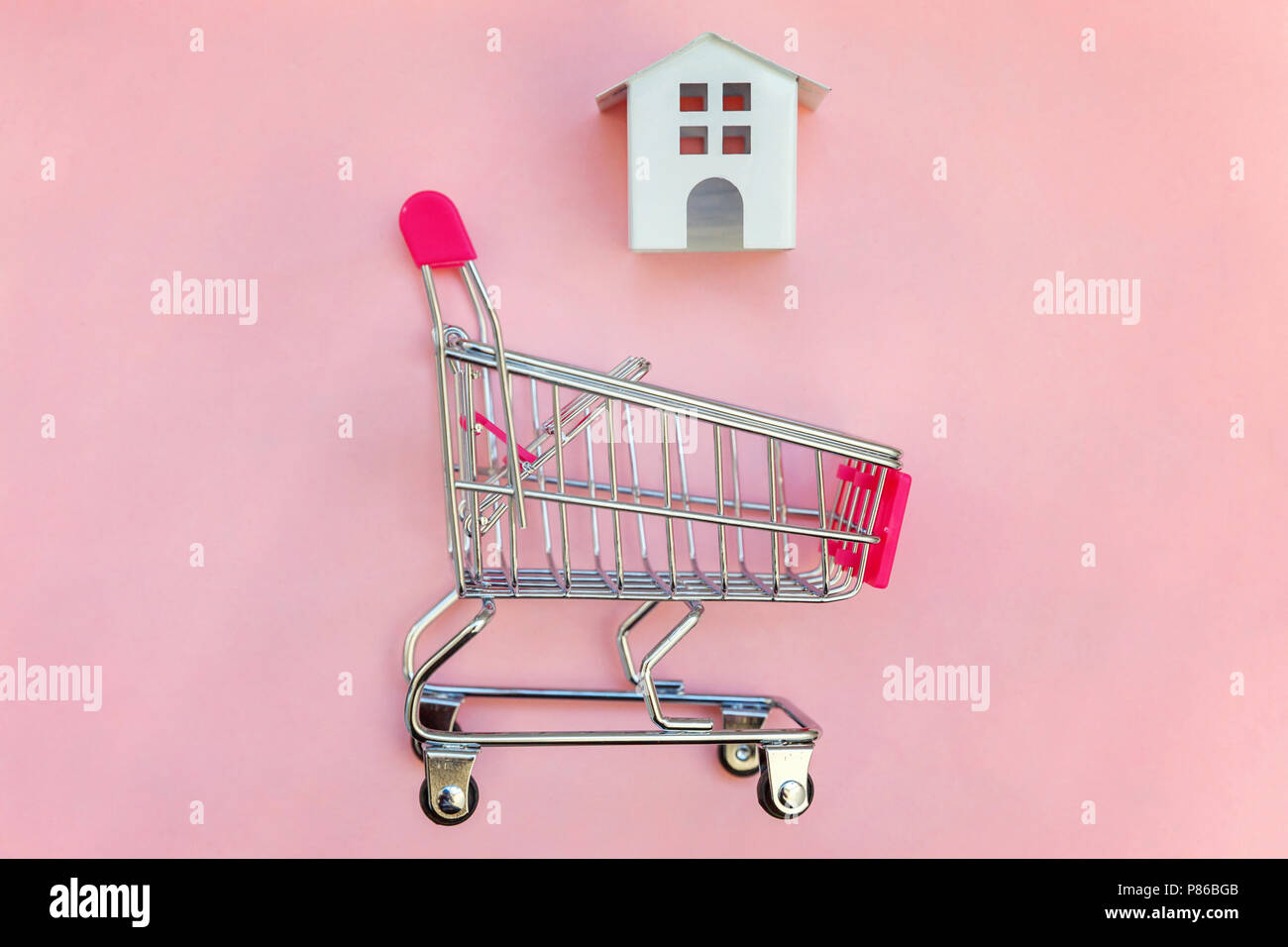 Small supermarket grocery push cart for shopping toy miniature white ...