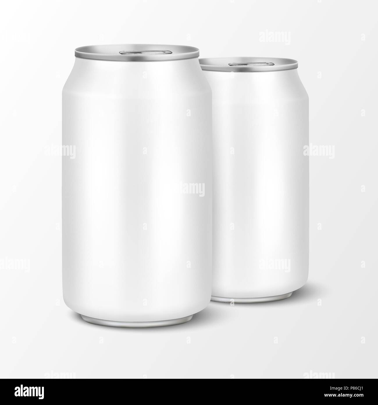 two vector realistic 3d empty glossy metal white aluminium beer pack
