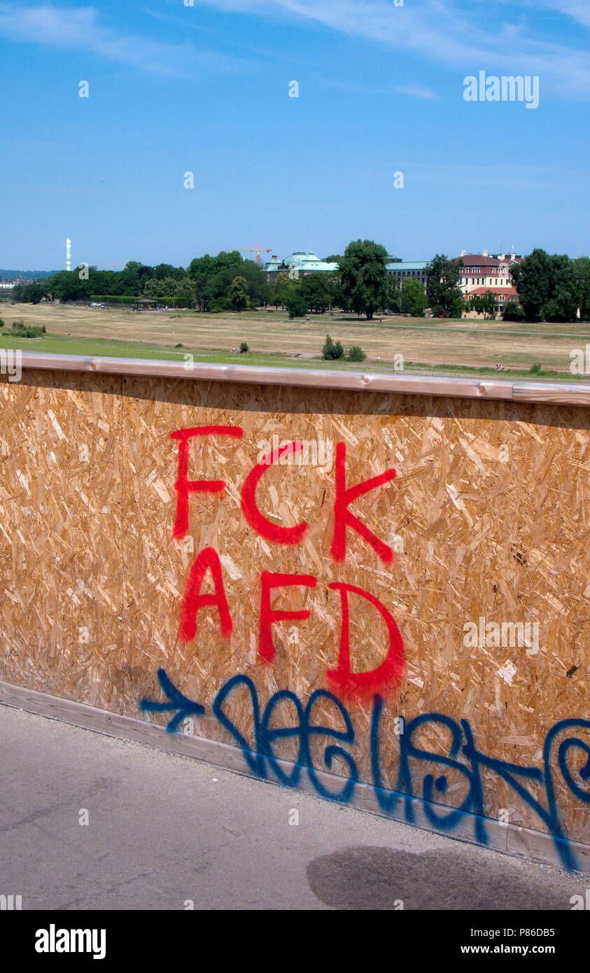 Protest Graffiti against the right wing german political party, Alternativ für Deutschland, (AfD), Dresden, Saxony, Germany. - Stock Image