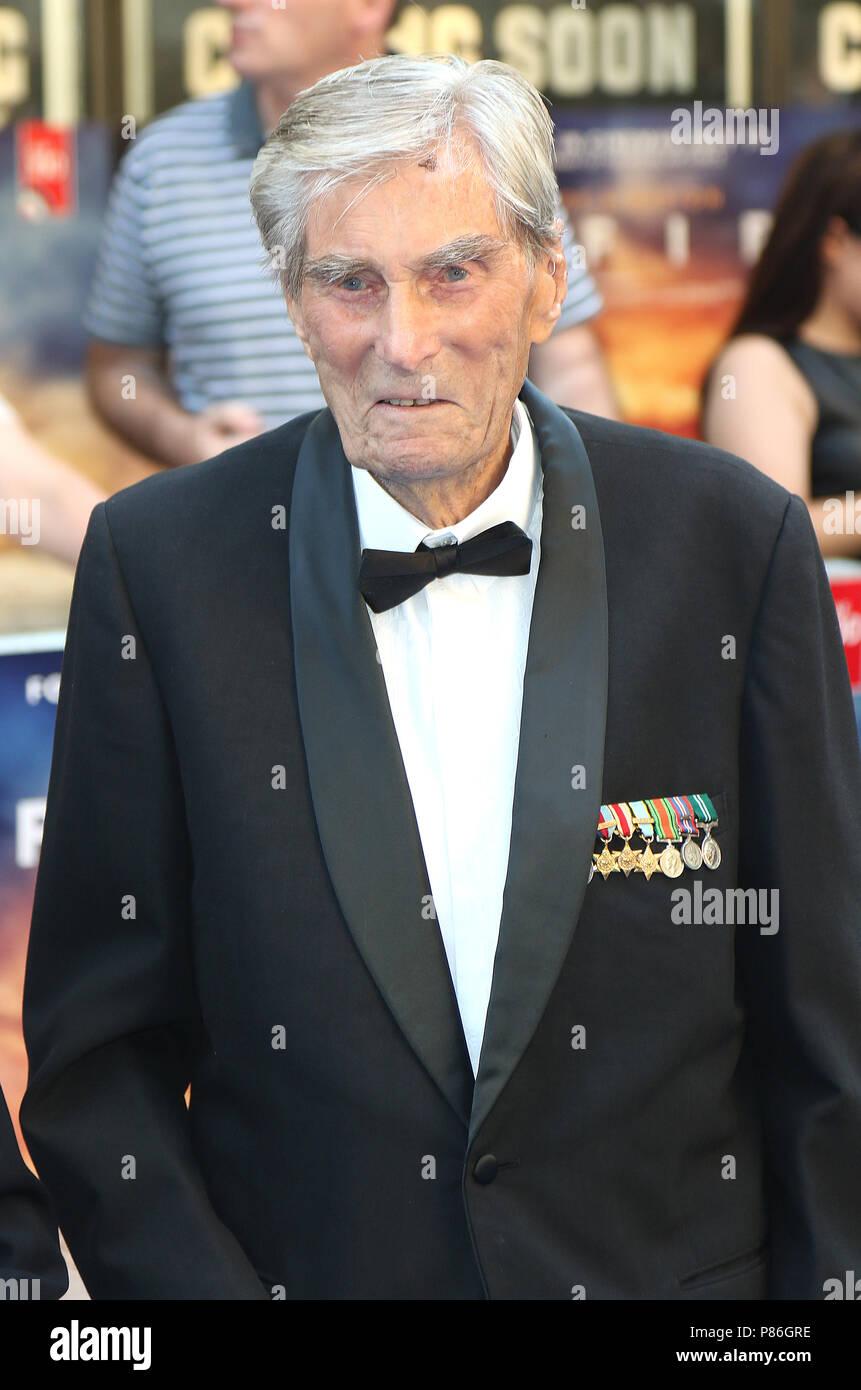 London, UK. 9th July 2018. Paul Farnes, 99 year old WW2 Battle of Britain RAF Hurricane ace, Spitfire - World Premiere, Curzon Mayfair, London, UK, 09 July 2018, Photo by Richard Goldschmidt Credit: Rich Gold/Alamy Live News - Stock Image