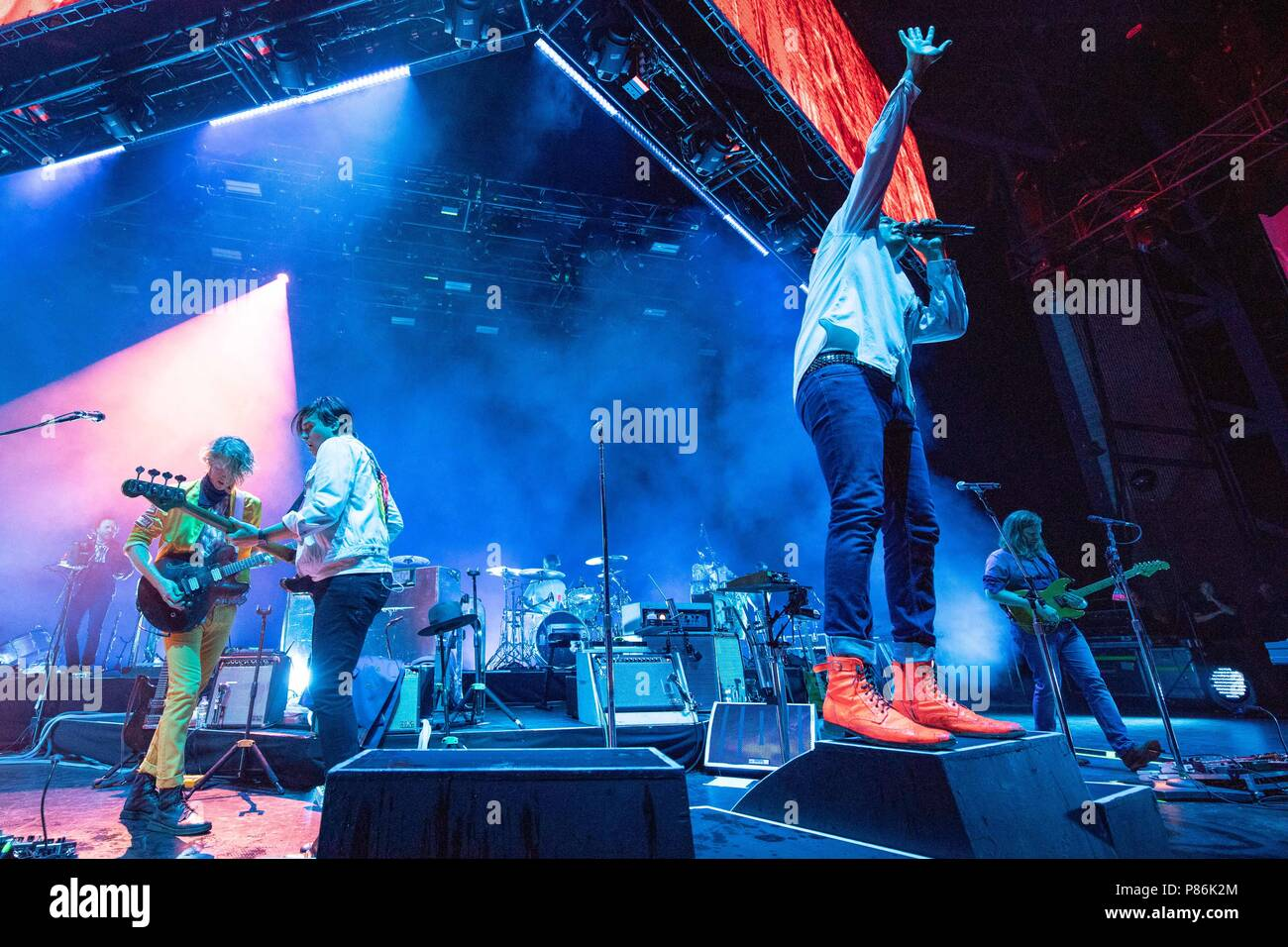 Milwaukee, Wisconsin, USA. 8th July, 2018. RICHARD REED PARRY, WILLIAM BUTLER, WIN BUTLER and TIM KINGSBURY of Arcade Fire during Summerfest Music Festival at Henry Maier Festival Park in Milwaukee, Wisconsin Credit: Daniel DeSlover/ZUMA Wire/Alamy Live News - Stock Image