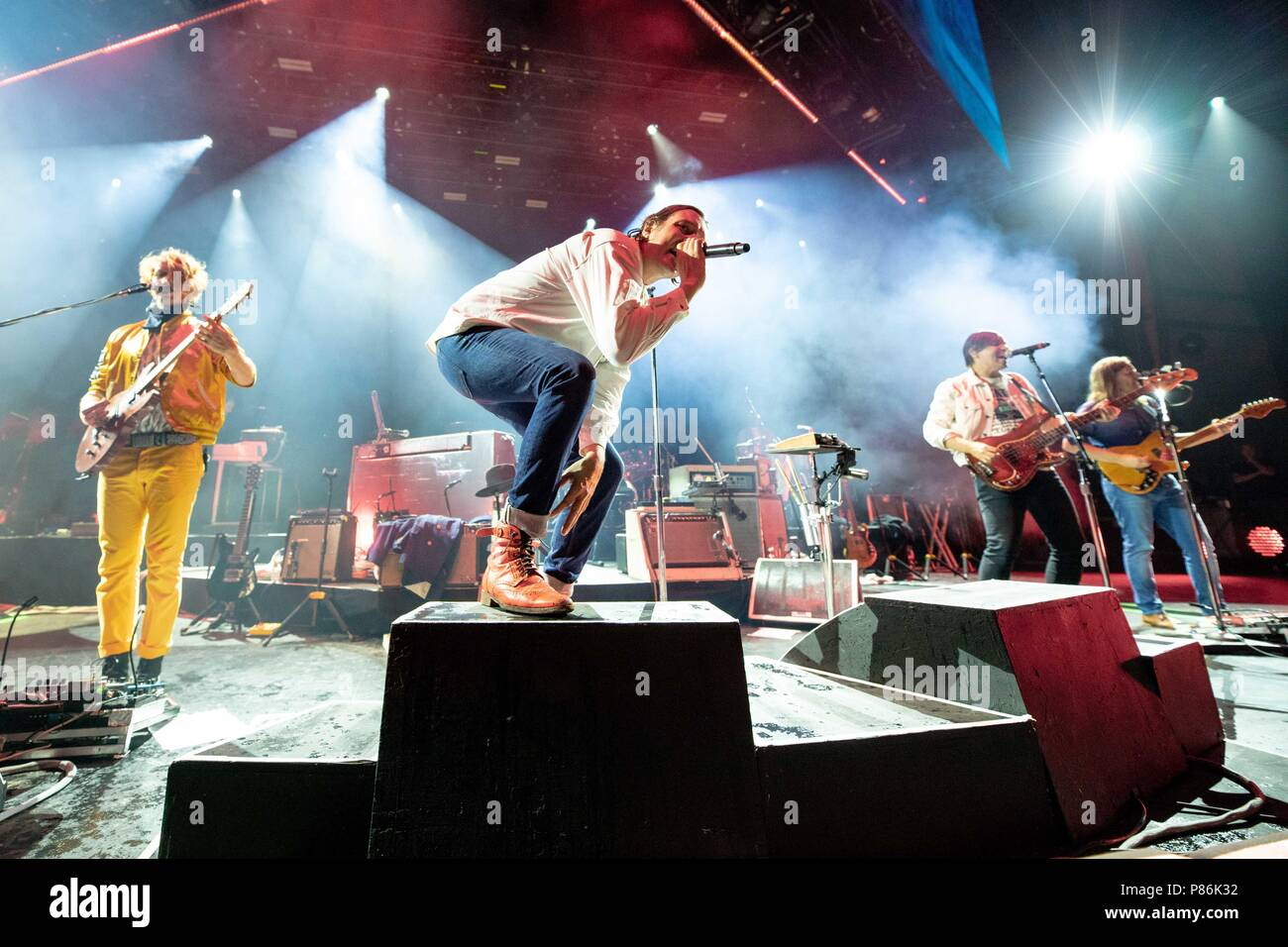 Milwaukee, Wisconsin, USA. 8th July, 2018. RICHARD REED PARRY, WIN BUTLER, WILLIAM BUTLER and TIM KINGSBURY of Arcade Fire during Summerfest Music Festival at Henry Maier Festival Park in Milwaukee, Wisconsin Credit: Daniel DeSlover/ZUMA Wire/Alamy Live News - Stock Image