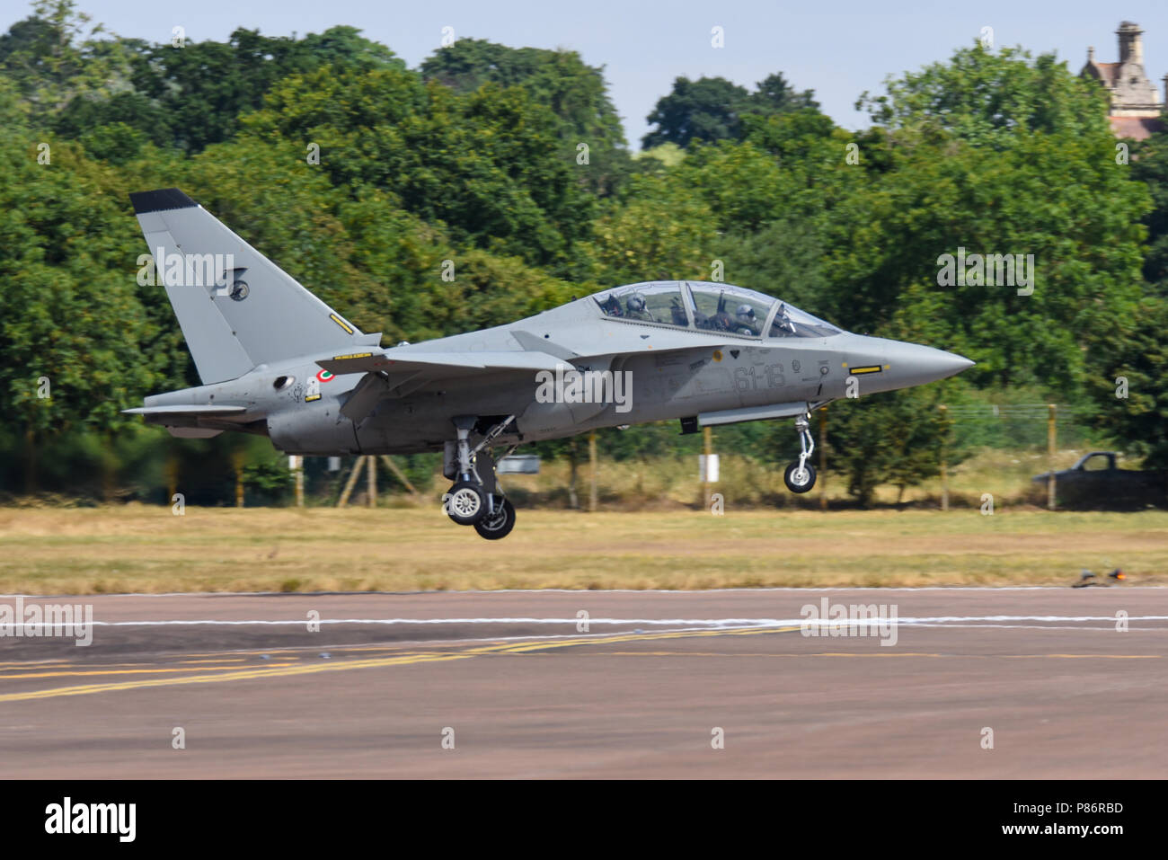 Italian Air Force T-346A Alenia Aermacchi M-346 Master military twin-engine transonic trainer aircraft arriving for the Royal International Air Tattoo, RIAT 2018, RAF Fairford airshow - Stock Image