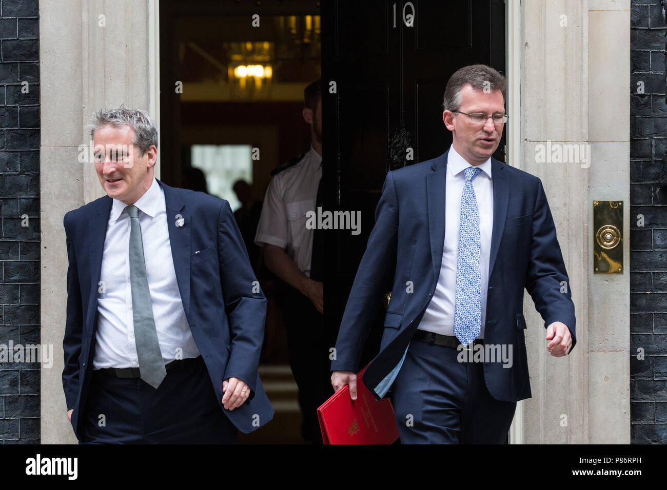 London, UK. 10th July, 2018. Damian Hinds MP, Secretary of State for Education, and Jeremy Wright QC MP, Secretary of State for Digital, Culture, Media and Sport, leave 10 Downing Street following the first Cabinet meeting since the resignations as Ministers of David Davis MP and Boris Johnson MP. Credit: Mark Kerrison/Alamy Live News - Stock Image