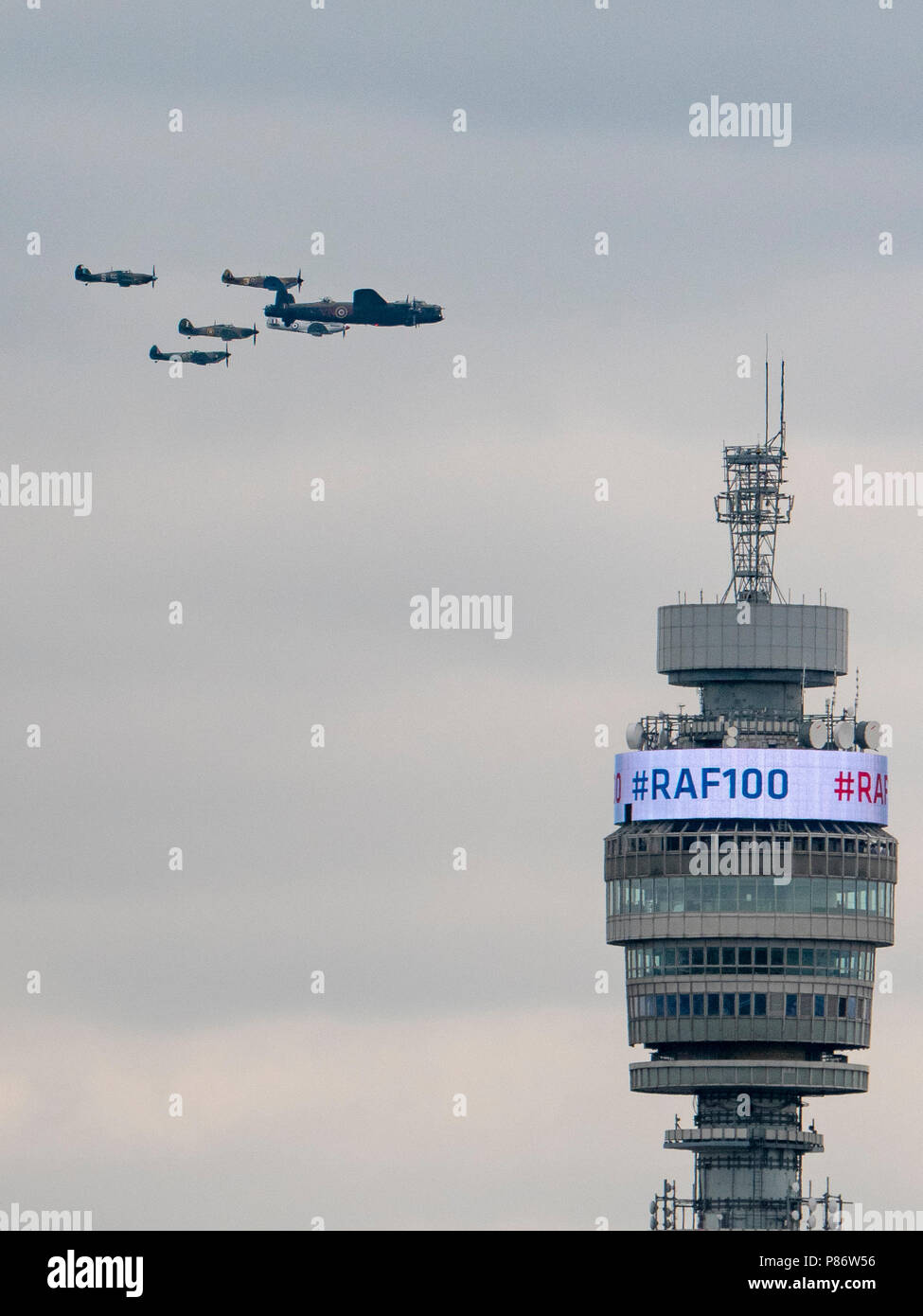 London, England, June 10th 2018, aircraft of the Battle of Britain Memorial Flight pass the BT Tower on their way to pass over Buckingham Palace to celebrate the 100th Anniversary of the Royal Air Force (RAF) Credit: Louis Berk/Alamy Live News Stock Photo