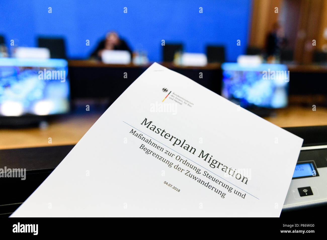 A Copy of the 'Masterplan Migration' during the presentation of the 'Masterplan Migration - Measures to Organize, Control and Limit Immigration.' The plan includes stopping and rejecting migrants who are already registered in other EU countries at the German border. - Stock Image